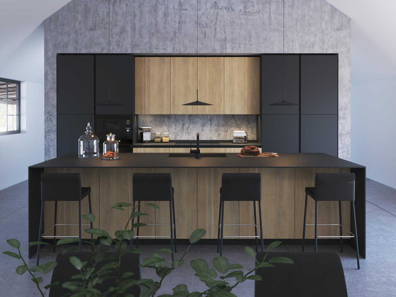 KLab 04 cucina con isola centrale con piano snack integrato