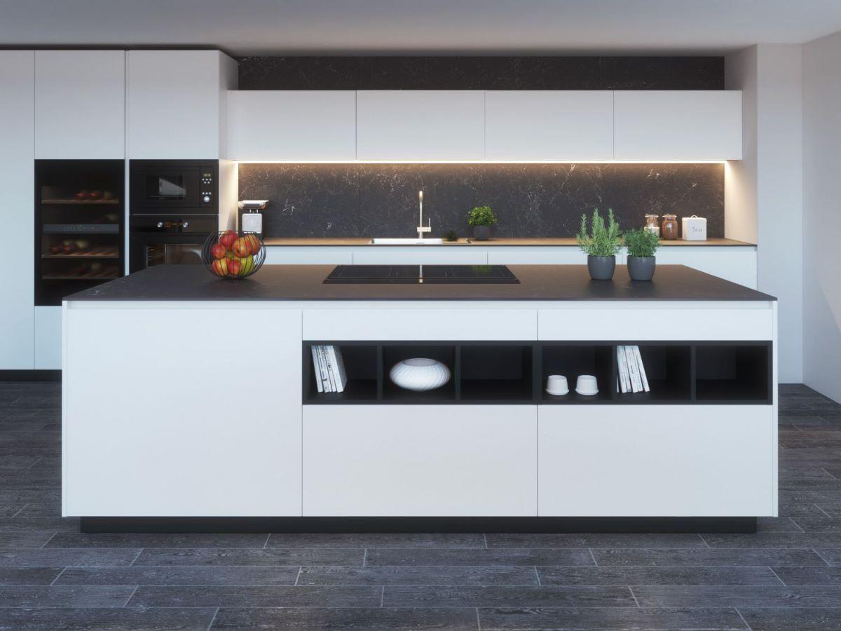 KLab 05 cucina su misura ad isola bianca e nera