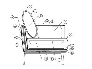 Schema imbottitura divano Structure Sofa di Bonaldo