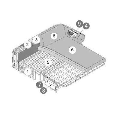 Divano letto lineare in tessuto camelia diotti com for Divano 5 posti lineare