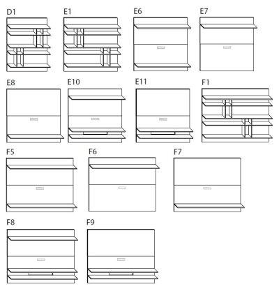 Schienale modulare con mensole Krea H.128 - ARREDACLICK
