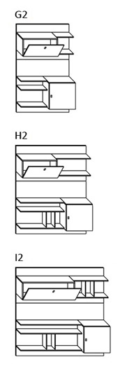 Schienale Pensile Battente Krea H96 : Schienale con pensili battenti ed a ribalta krea h