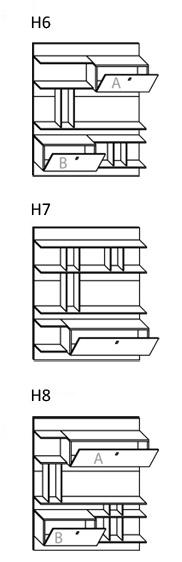 Schienali Singoli Libreria Almond : Schienali con pensili a ribalta per soggiorno modello krea