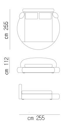 Letto rotondo con box contenitore satellite arredaclick - Misure letto rotondo ...