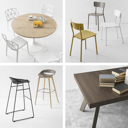 Tables et chaises modernes, design Connubia