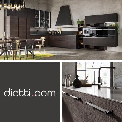 Cucina su misura in legno e acciaio con logo diotti.com