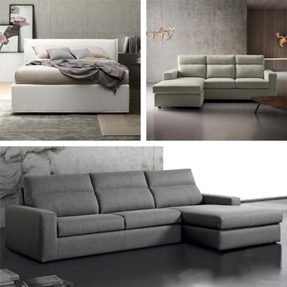 Leather, fabric, faux leather sofas, armchairs and upholstered beds