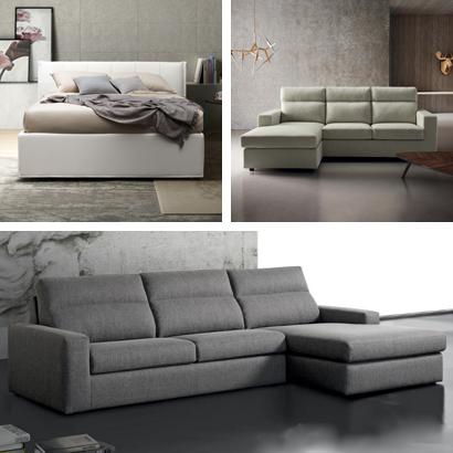 Canapés en cuir, tissu et simili cuir, fauteuils et lits rembourrés