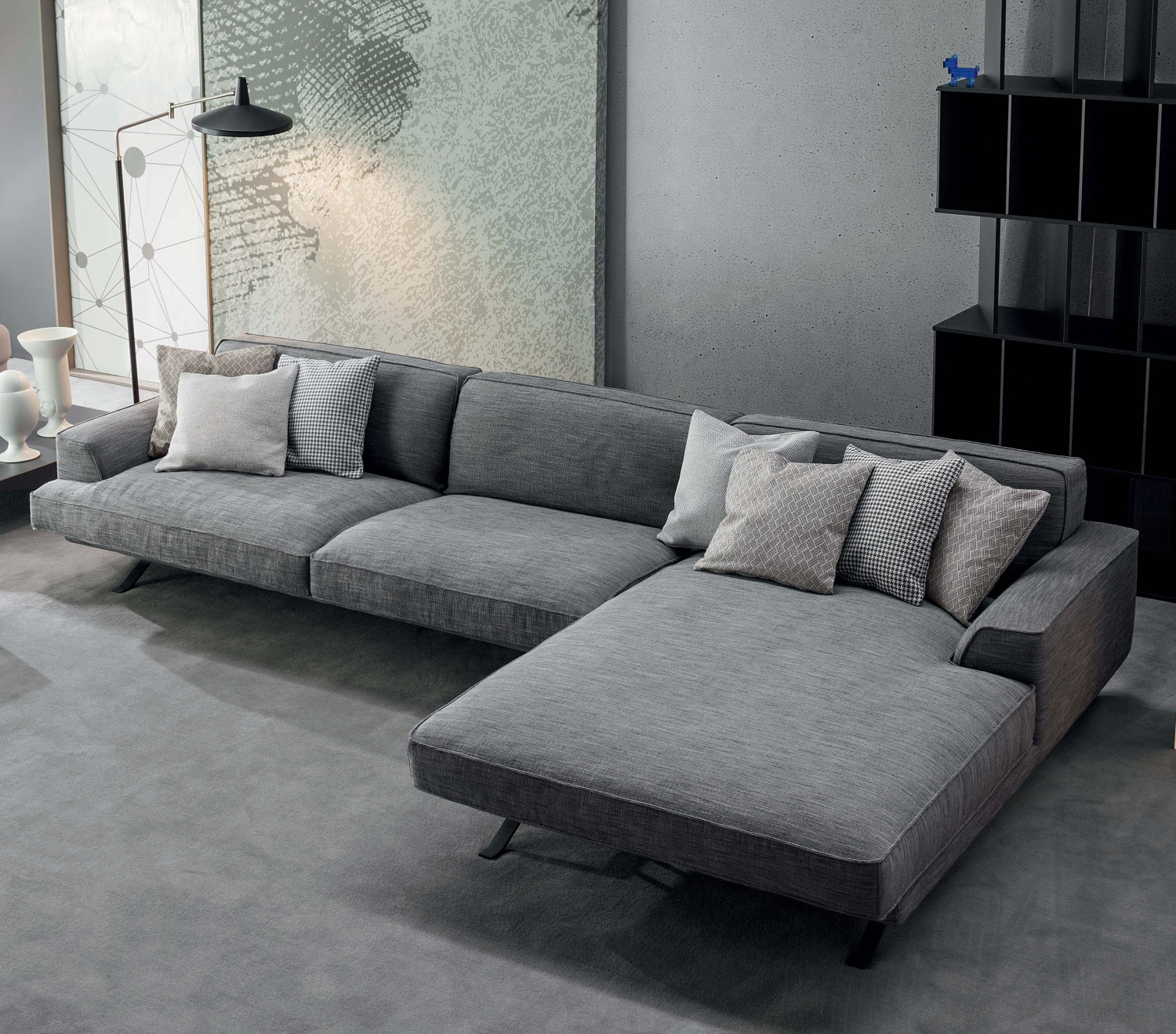 Slab Plus fabric sofa with chaise longue - DIOTTI.COM