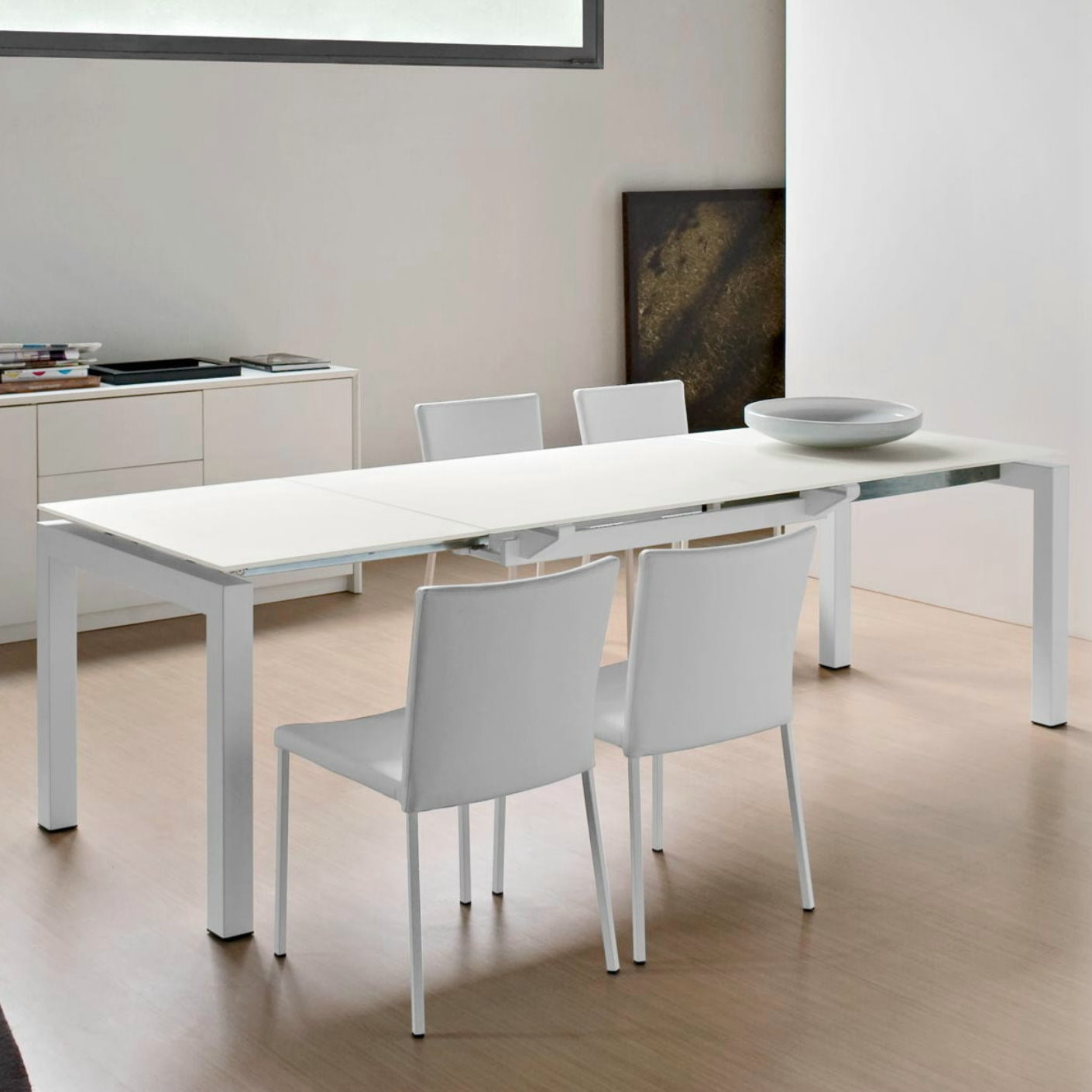 Tavolo In Vetro Bianco Allungabile.Airport Extending Table By Calligaris Diotti Com