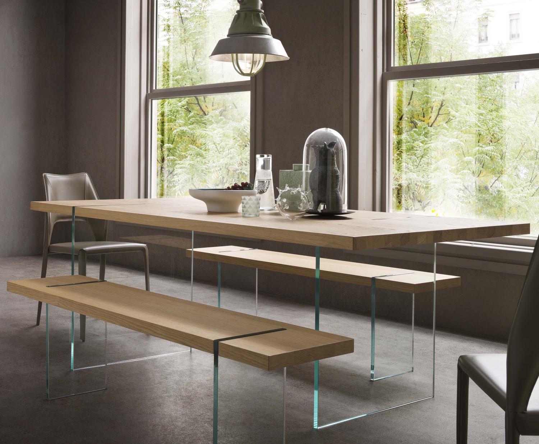 Tavolo di design in legno e cristallo glassy arredaclick