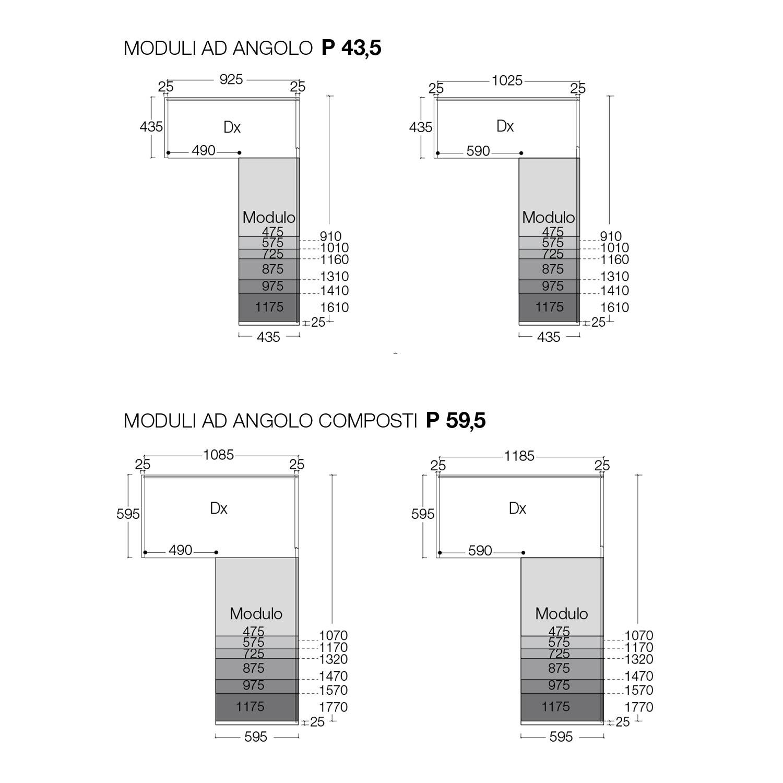 Dimensioni Cabina Armadio Ad Angolo pacific - elemento angolare