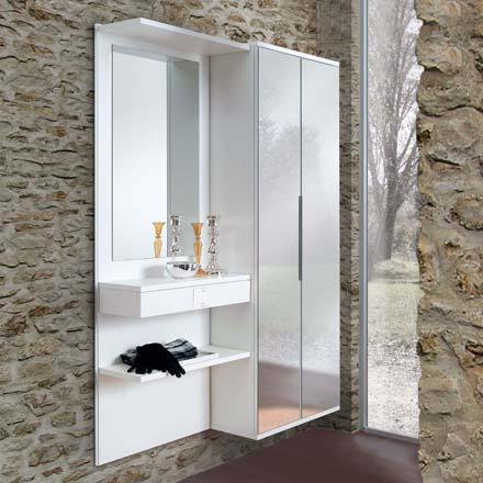 Mobili per ingresso con specchiera, elementi appendiabiti, mensole ...