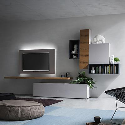 Parete attrezzata porta tv estraibile logic 502 arredaclick - Pannello porta tv da parete ...