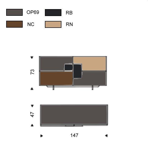 Credenza Tre Ante Oxford Cattelan : Credenza con inserti in legno torino di cattelan arredaclick
