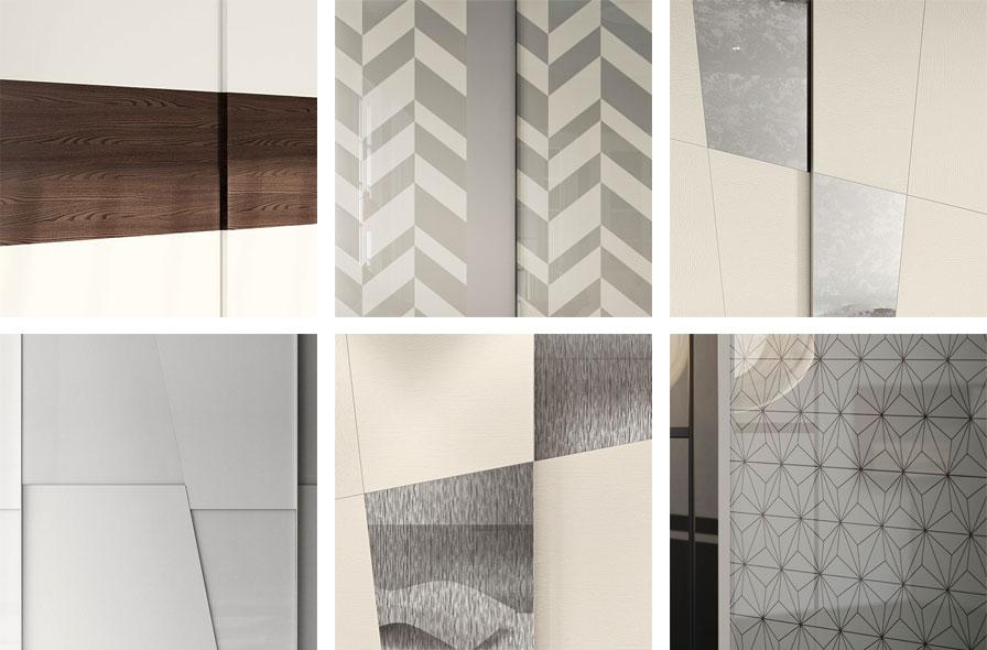 Collage con dettaglio ante decorative armadi scorrevoli