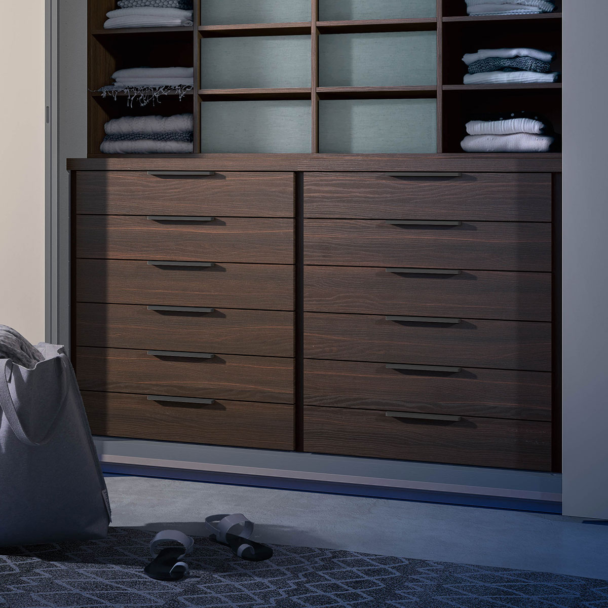 Doppia cassettiera interna per armadio scorrevole