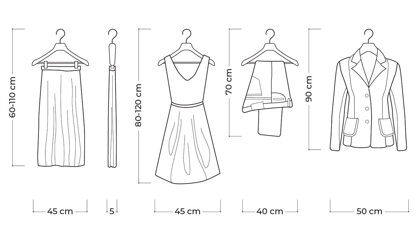 Dimensioni abiti e accessori