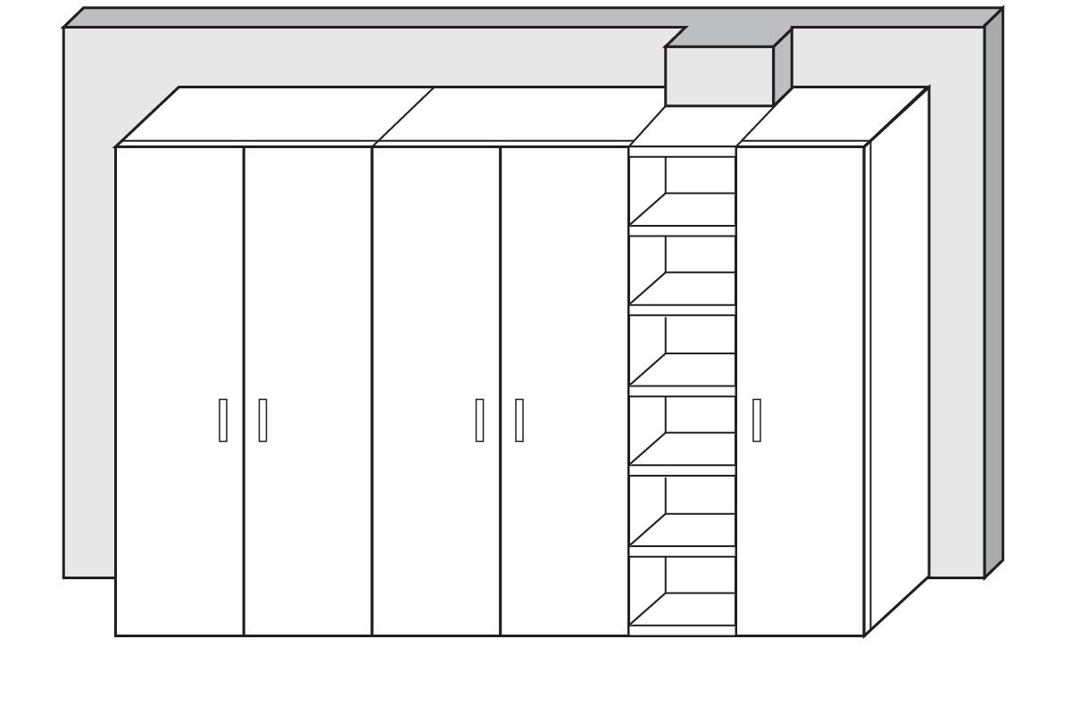 Armadio con libreria per parete con pilastro