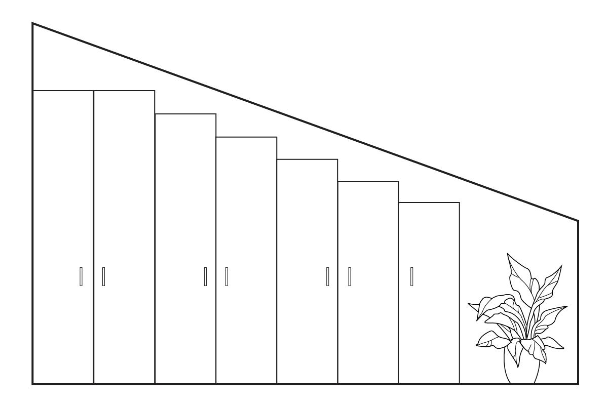 Armadio a gradoni per soffitto inclinato