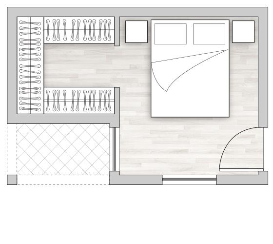 Cabina armadio in camera con pianta a L