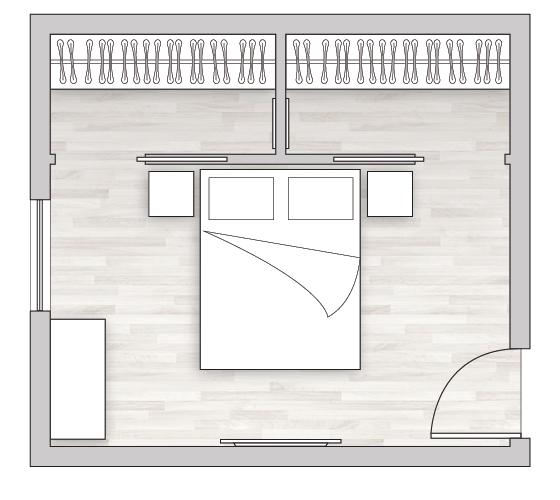 Cabina armadio realizzata dietro al letto