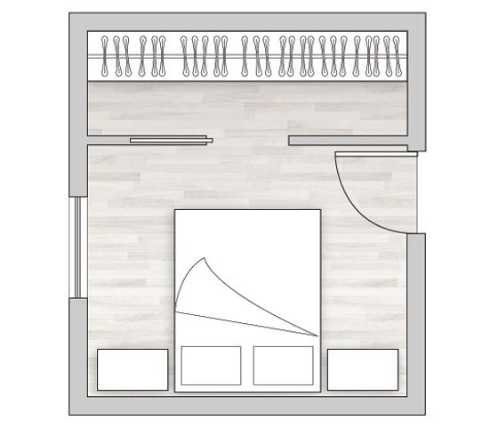 Cabina armadio di fronte al letto
