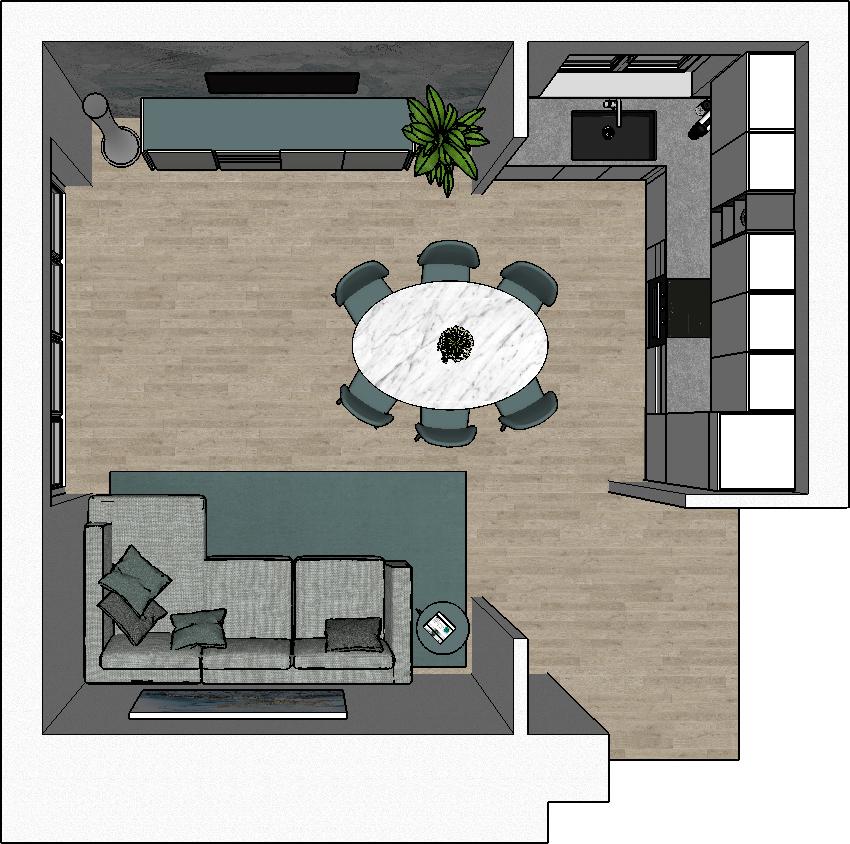 Open space con cucina angolare