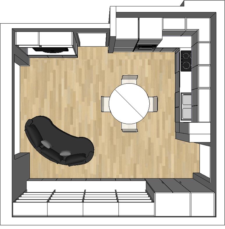 Open space con cucina a vista