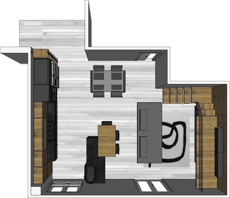 Open space con divano centro stanza