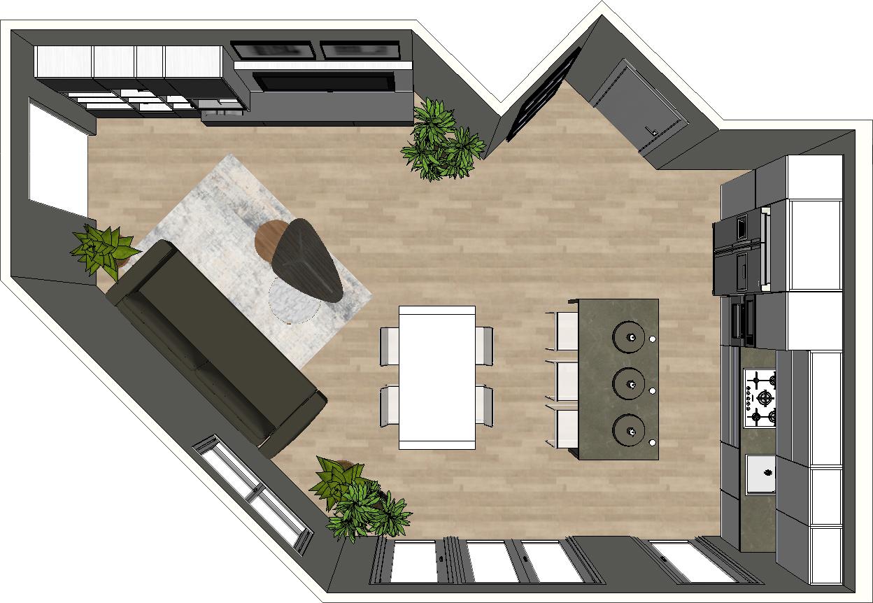 Open space con pareti inclinate