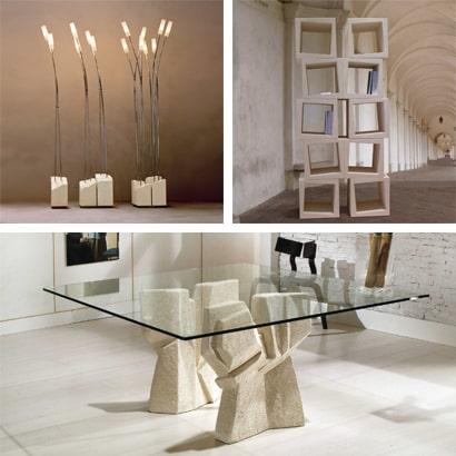 Tavoli d'interni in pietra, marmo, cristallo