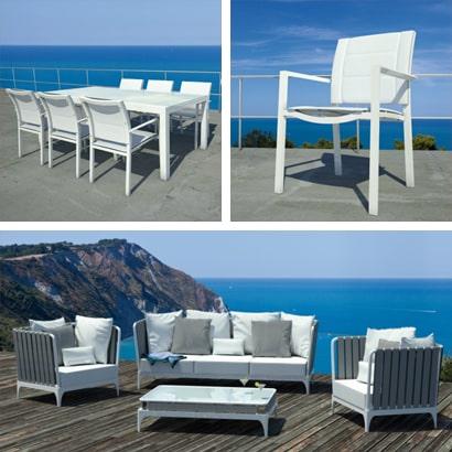 Arredi outdoor design: tavoli e sedie da giardino, salotti da esterno, sdraio e poltrone