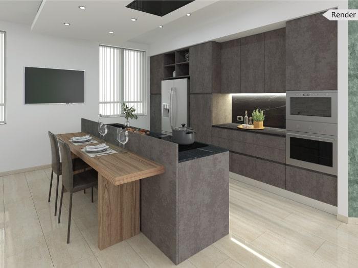 Render fotorealistico della cucina: progetto sviluppato dai nostri Interior Designer
