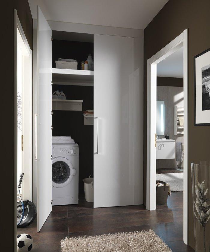 Idee armadio corridoio su misura per ricavare lavanderia e ripostiglio progetto arredaclick - Armadio ripostiglio da interno ...
