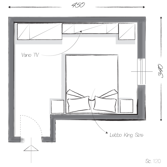 Camera da letto lunga e stretta come arredarla design - Camera da letto con tv ...