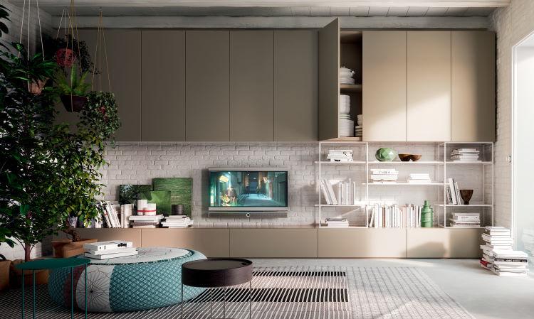 Composizione per il soggiorno con armadio a ponte e cassetti per tv Wide