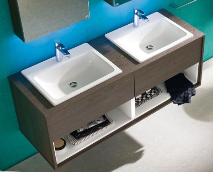Mobile bagno doppio con lavabo a incasso soprapiano N11 Atlantic