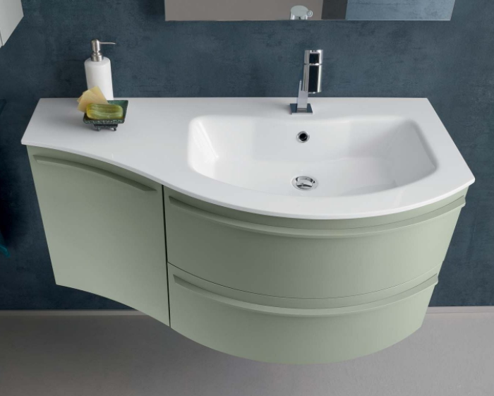 Mobile bagno curvo con piano e lavabo in mineralguss N12 Atlantic