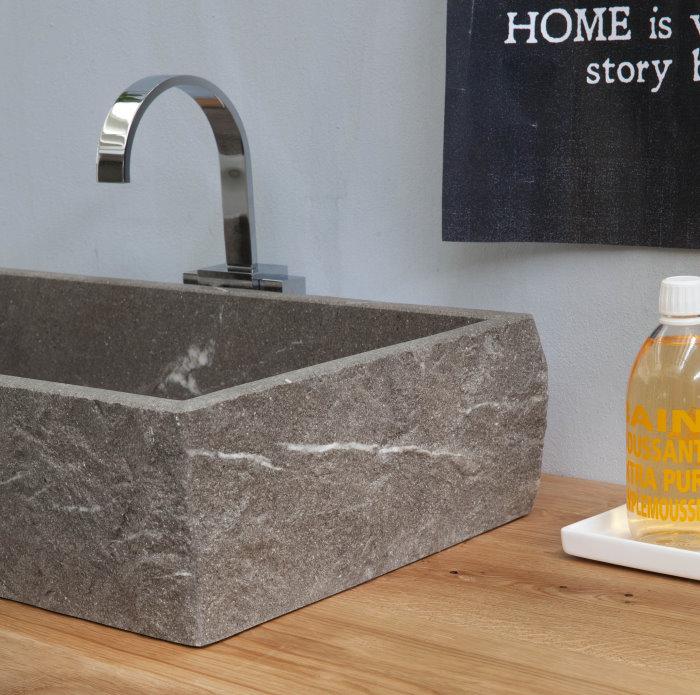 Mobile bagno con lavabo in pietra Piasentina N67 Atlantic