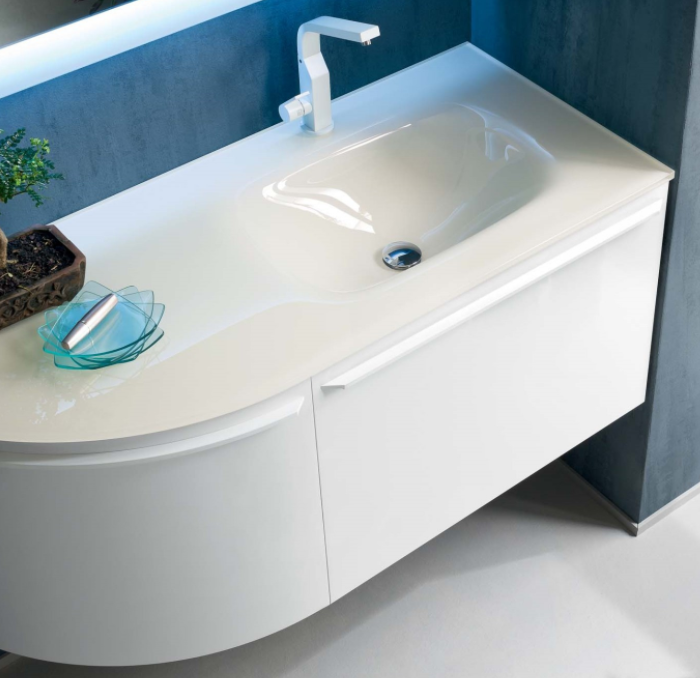Mobile bagno con piano e lavabo in cristallo N04 Atlantic