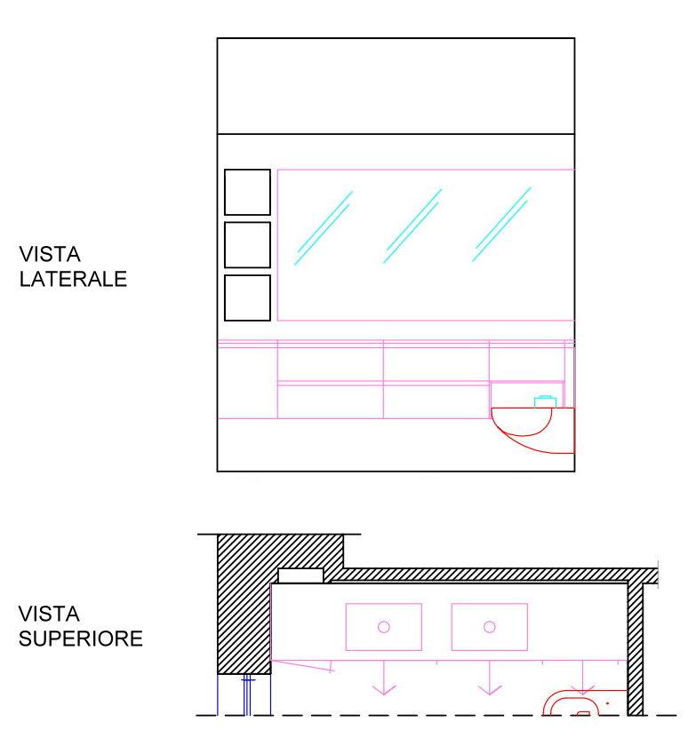 Schemi che mostrano il mobile bagno dall'alto e dal davanti