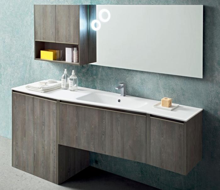Piastrelle finto legno grigio - Bagno moderno grigio ...