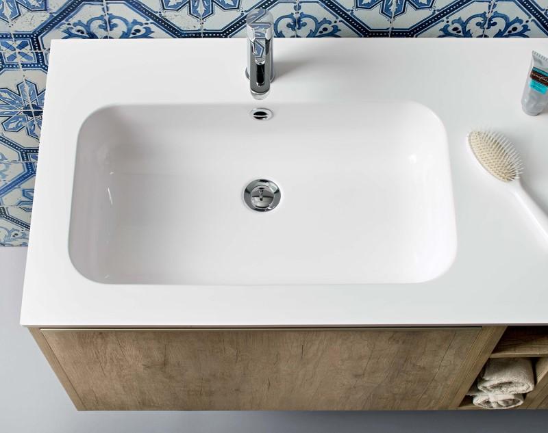 Mobile bagno in legno con lavabo in marmoresina bianco lucido