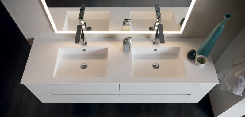 Doppio lavabo in Tekor bianco opaco