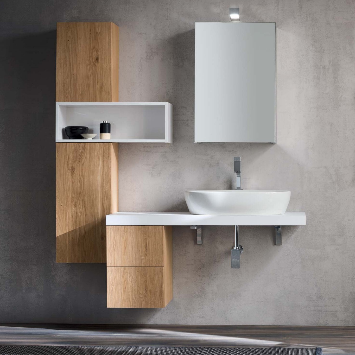 Idee mobile bagno moderno una mensola per il lavabo for Mobile angolare bagno