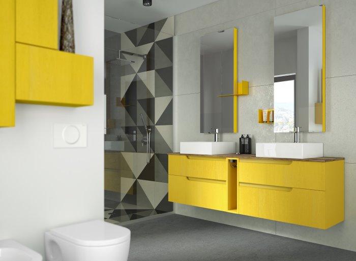 Mobile colorato con due lavabi Aquna 16