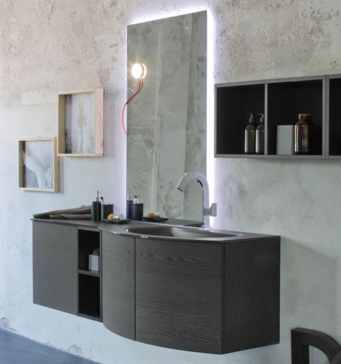 Mobile bagno con lavabo e top in vetro satinato nero Atlantic N56