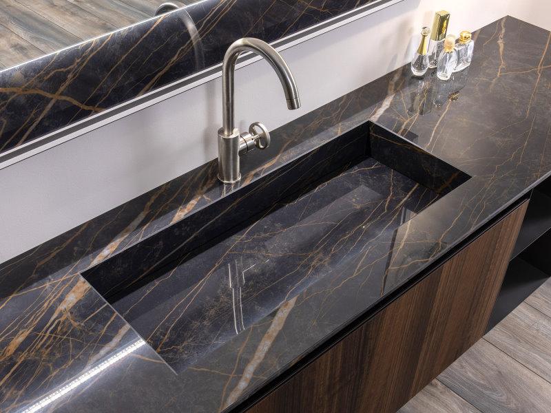 Piano con lavabo integrato effetto marmo scuro - Master 01