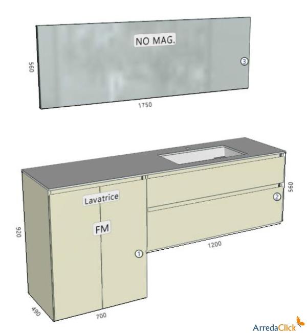 Idee un mobile bagno con porta lavatrice in meno di 2 metri arredaclick - Misure lavabo bagno ...